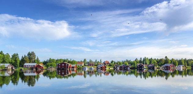 Häuser an der schwedischen Küste