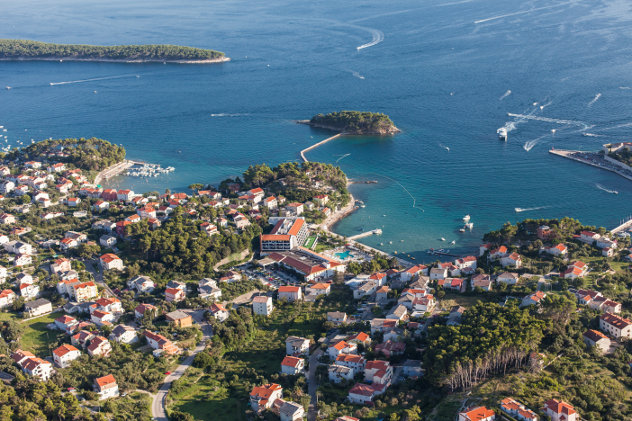 Aerial view of Croatia coast line Rab island