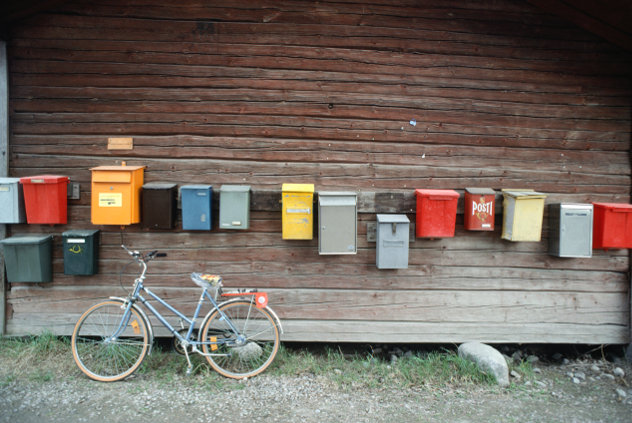 Finland Row of letter-boxes and bicycle