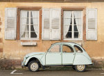 Beautifull white 2CV on a street in France