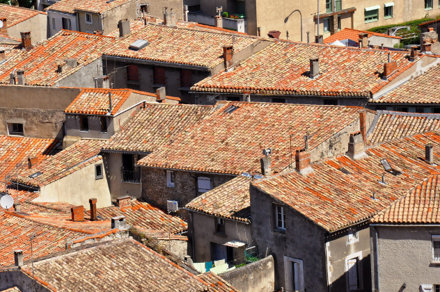 Tile houses roofs in Carcassone