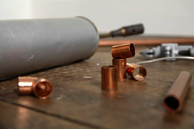 Plumber materials, copper pipes
