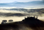 Morning in the Val d'Orcia near Siena in Tuscany