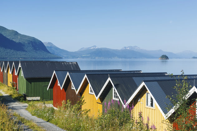 norway-Colorful camping cabins on the fjord shore