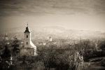 Romanian village with church