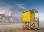 Yellow lifeguard house on the beach of Benidorm