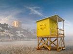 Yellow lifeguard house on the beach of Benidorm