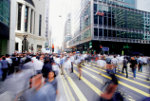 People walking in city us blurred image